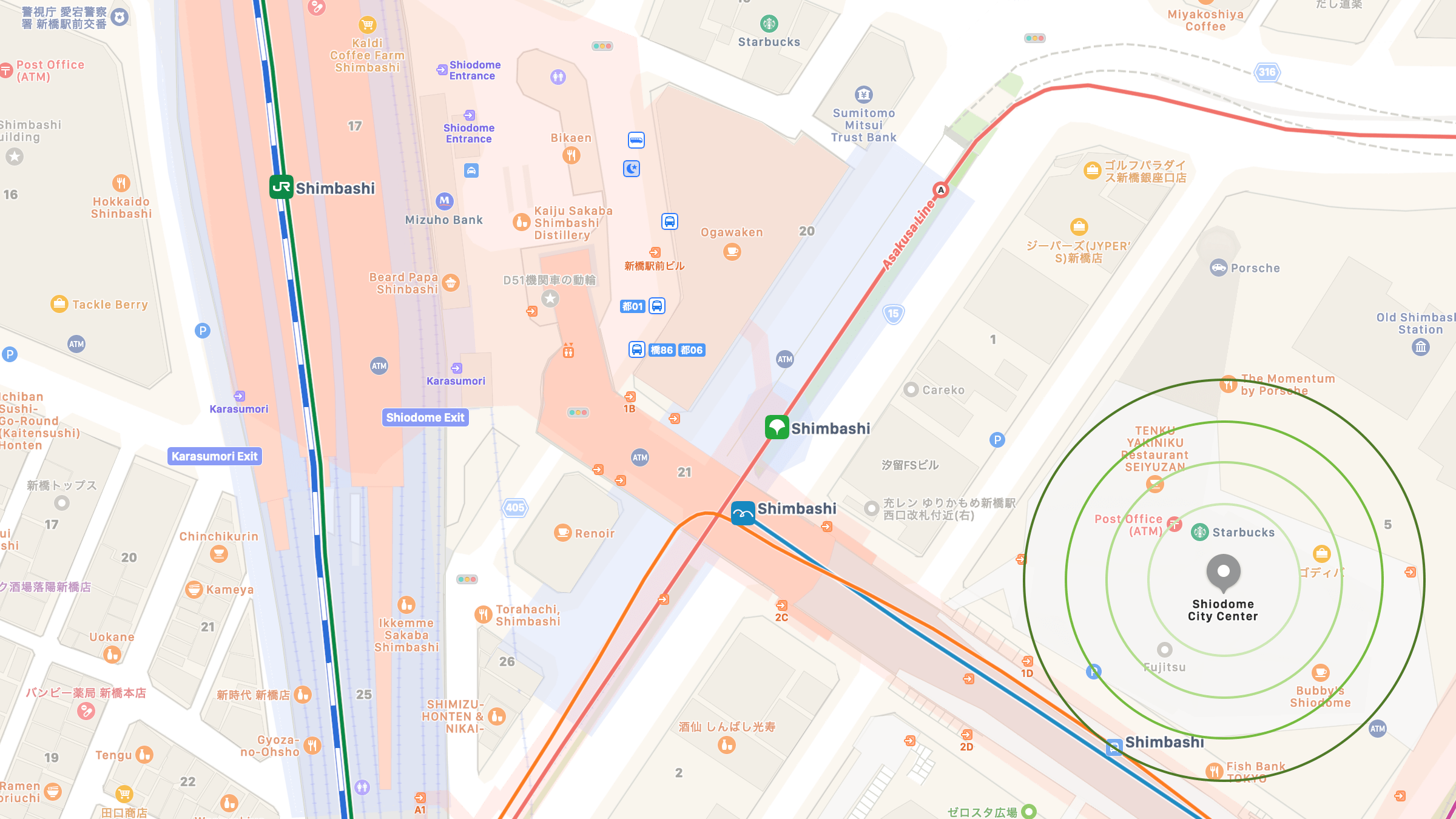 Screenshot of map of area around eSolia office in the Shiodome City Center, including JR Shimbashi Rail station.